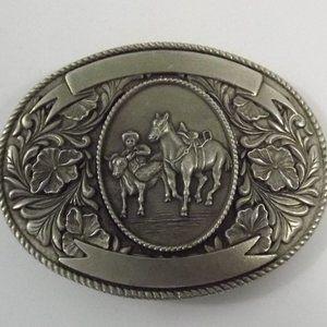Other - Vintage Western Calf Roper & Horse Belt Buckle